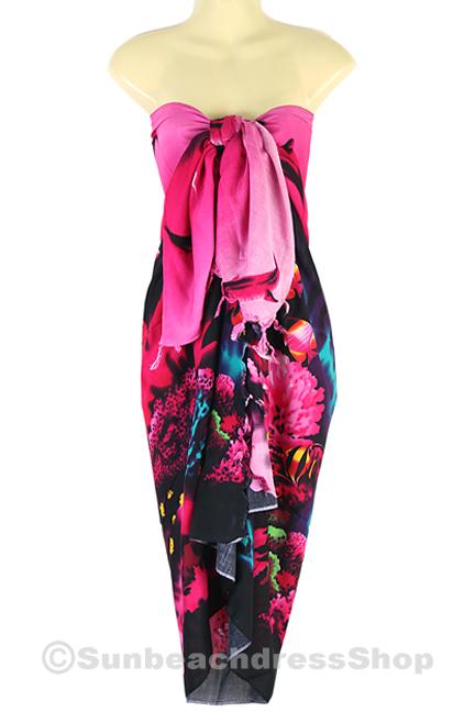 Dolphin Sea Sarong Pareo Skirt Dress Wrap Cover-up Beach Pink sa123p