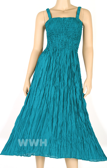 Bohemian Style Sun Long Dress Beach Summer Boho XS S M Teal tm031