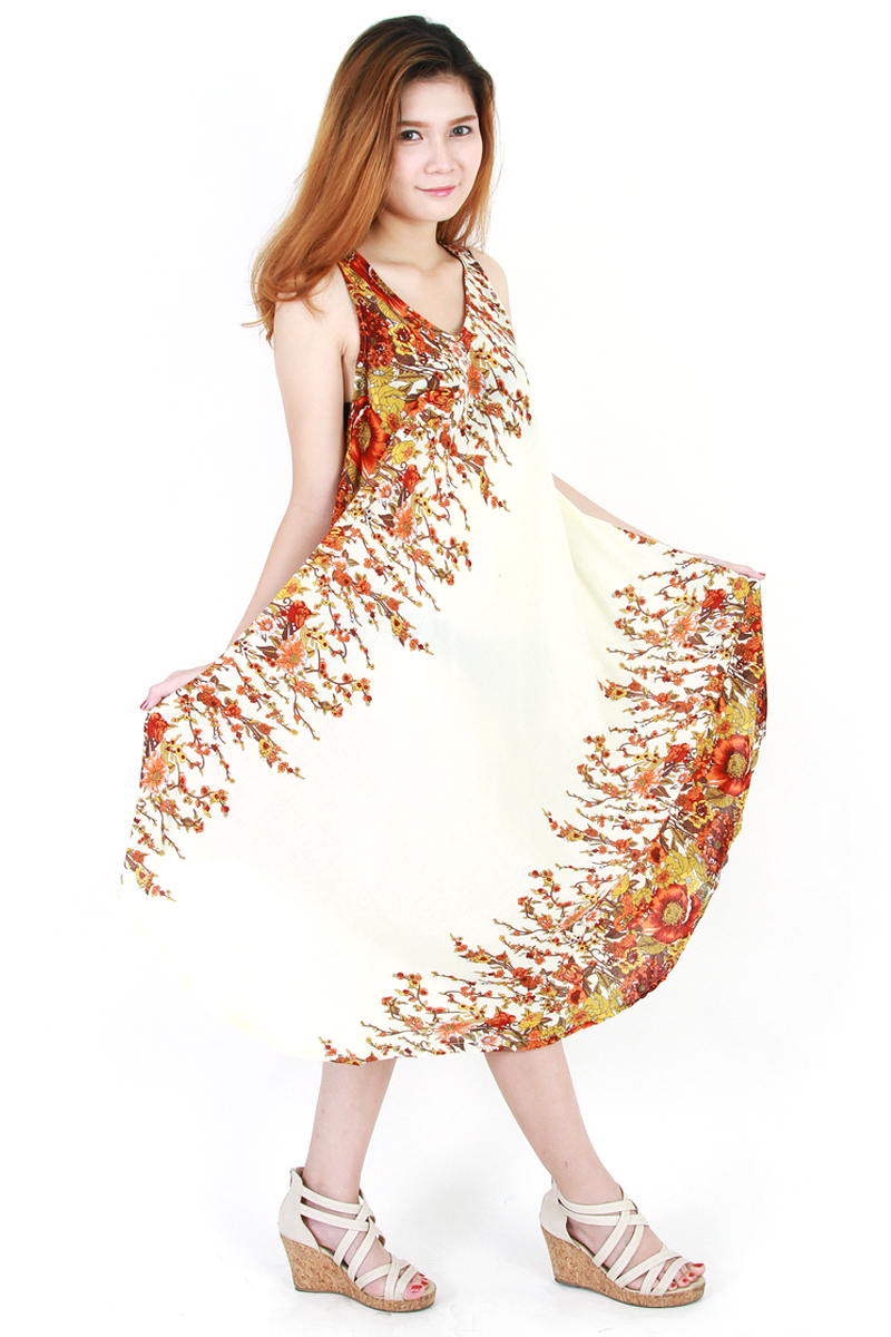 Floral Bohemian Casual Beach Sundress Round Size XS-XXL up to 1X ...